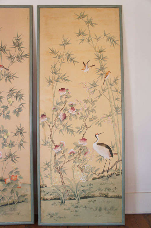 Pair of de Gournay Hand Painted Wallpaper Panels at 1stdibs 509x768