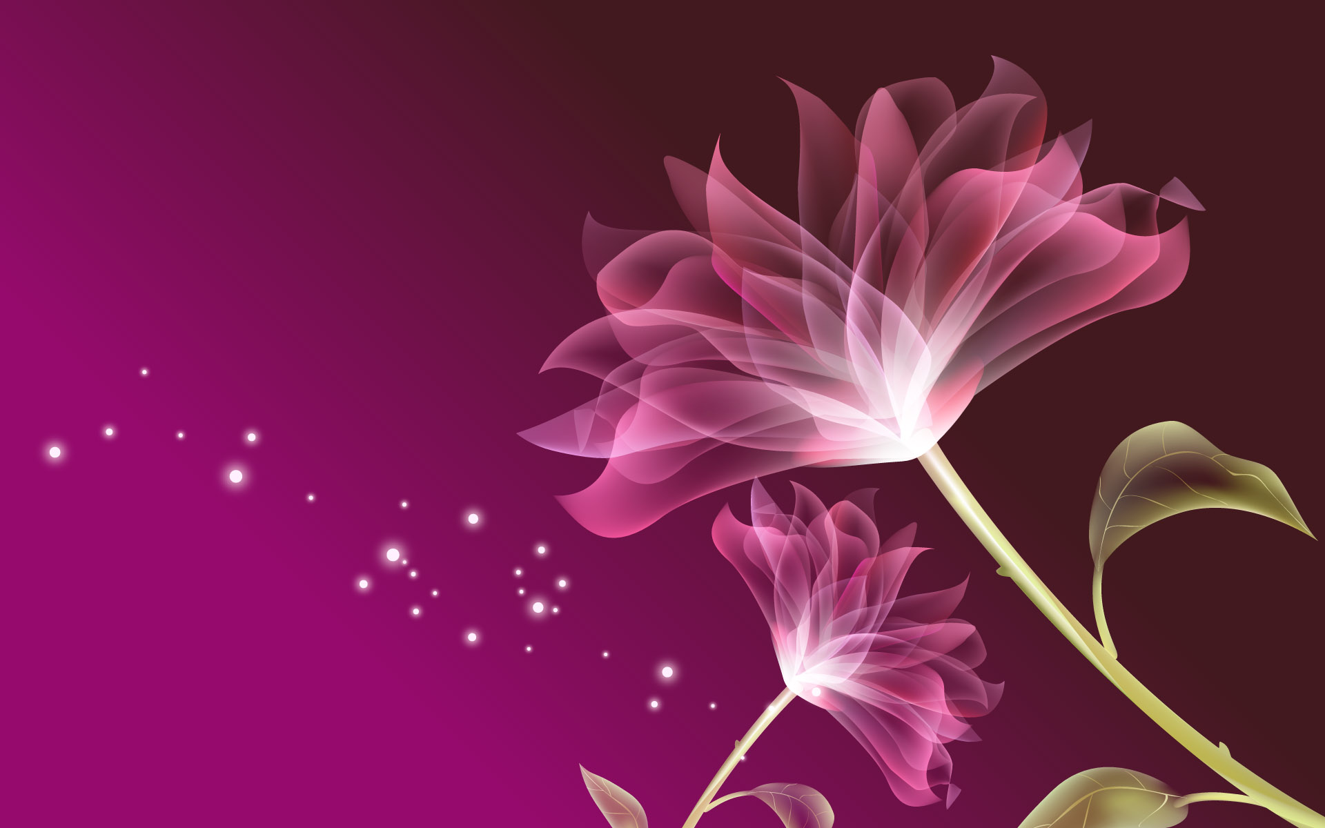 Pink Flowers 3D Wallpaper Background 1920x1200