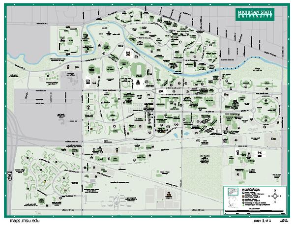 Michigan State University Map   East Lansing MI 48824 mappery 600x464