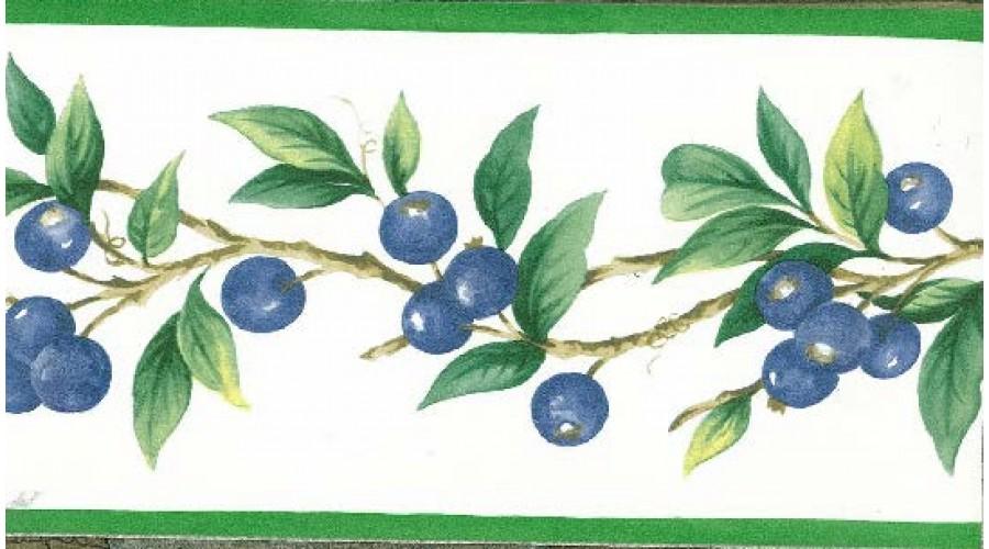 Home Blue Berries Green Leaves Wallpaper Border 900x500