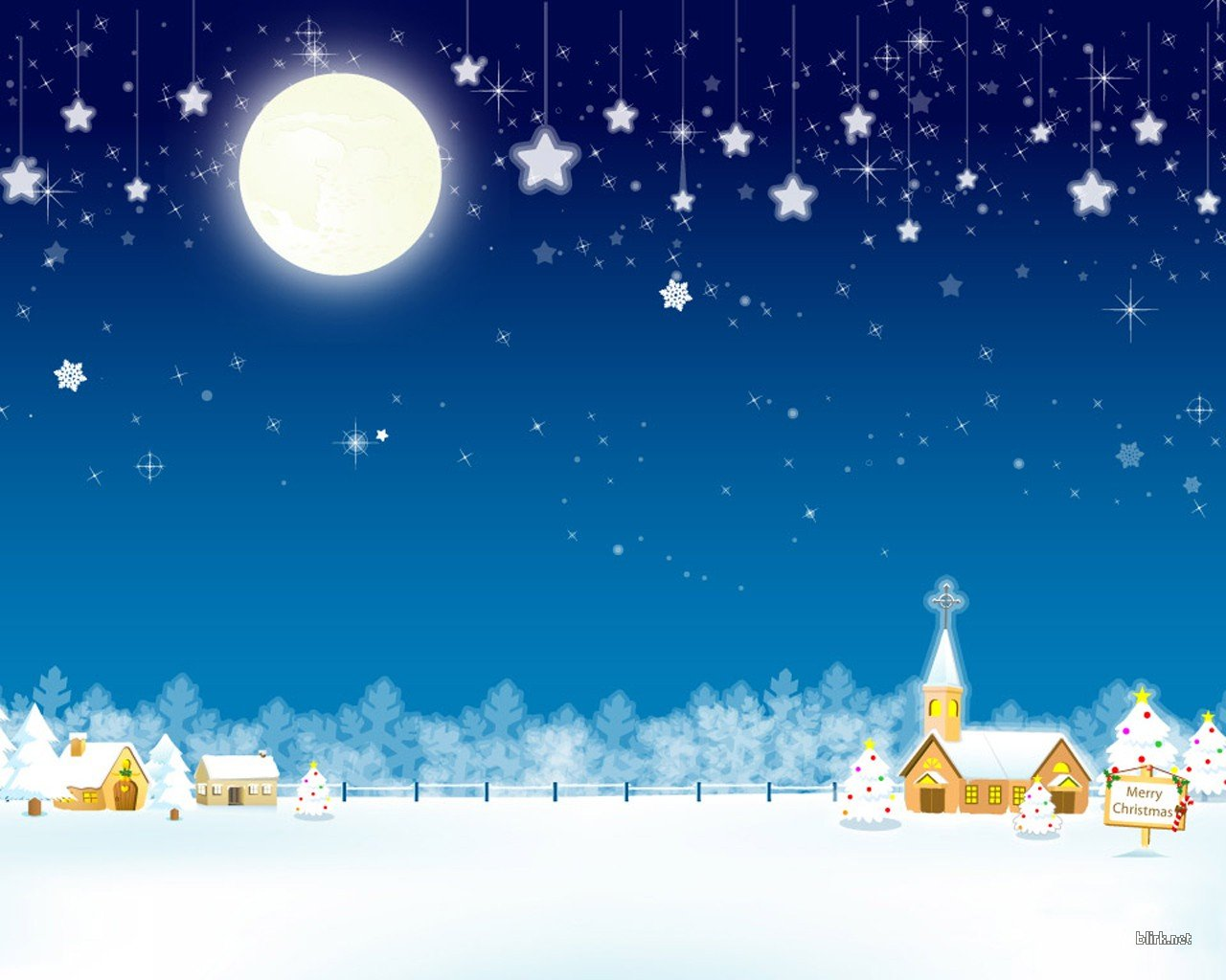 Group Of Snowing Christmas Wallpaper Village