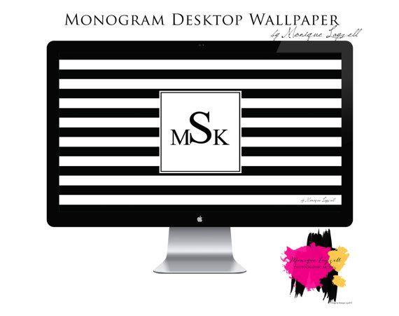 Monogram Desktop Wallpaper Stripe Chic Desktop Wallpapers Monograms 570x451
