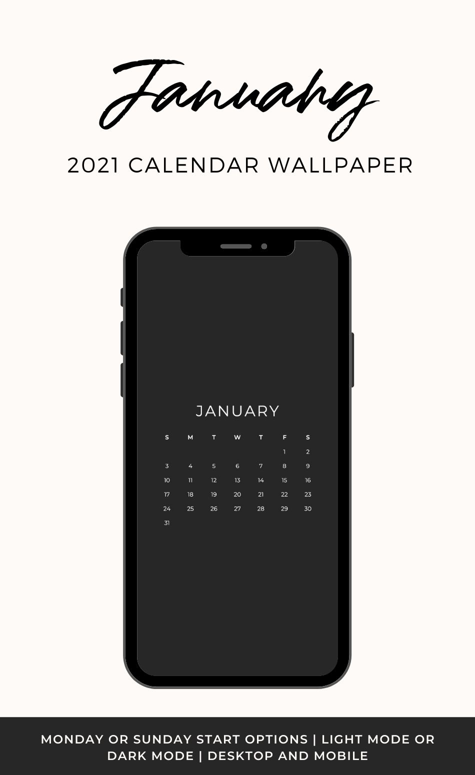 January 2021 Calendar Wallpaper   Thyme Is Honey 950x1550