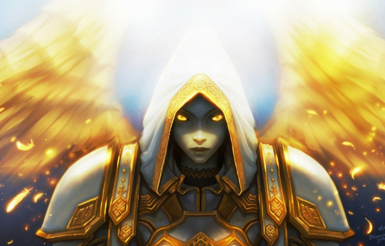 Wallpaper Light World of Warcraft game wow Priest Healer 1332x850