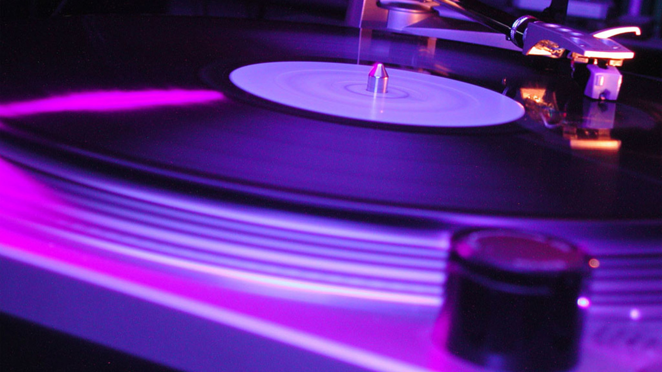 wallpapers vinyl record player light purple Hi tech photo on the 1366x768