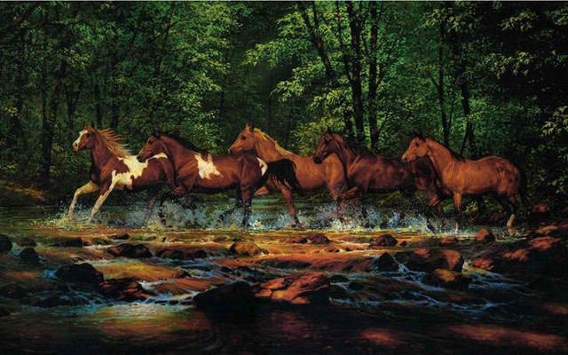 Running Horses Wall Mural large eclectic wallpaper 640x400