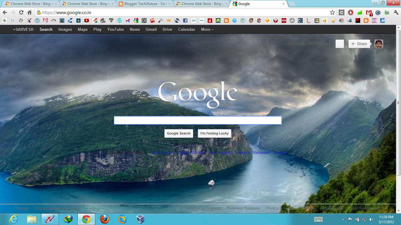 Google themes personalized homepage - Get Bing Daily Images On Your Google Homepage Tech2future