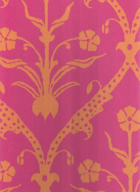 Hicks a deep pink wallpaper with flower and trellis design in orange 534x734