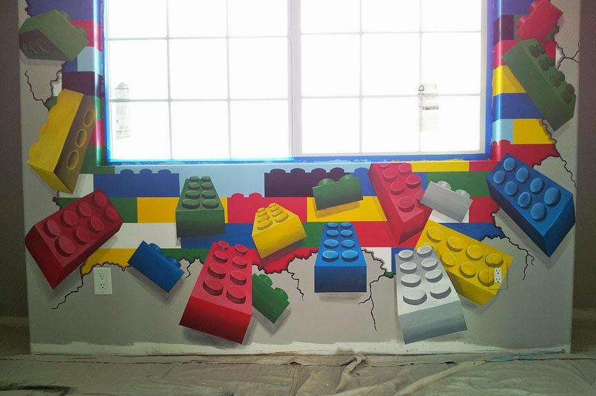 Lego Bedroom Wall Several lego themed murals 864x575