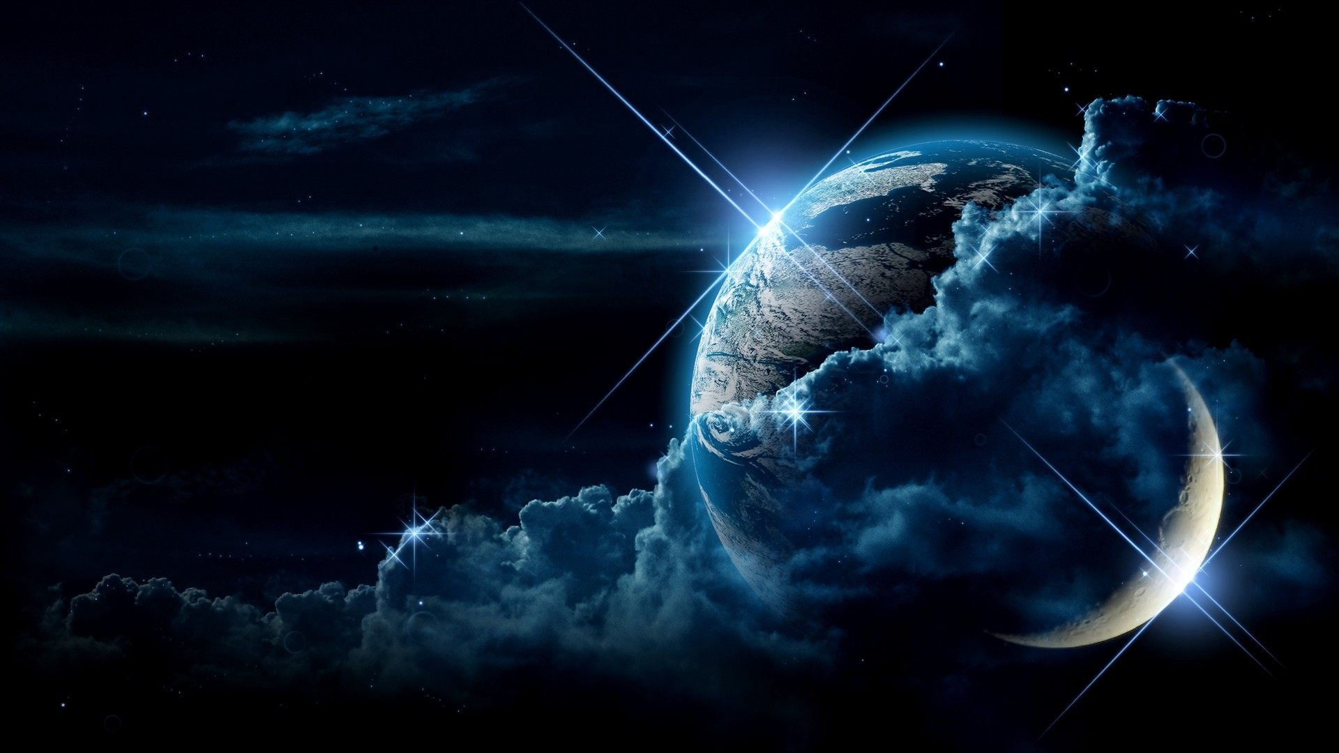space planets moon earth planet sci fi stars wallpaper 1920x1080 1920x1080