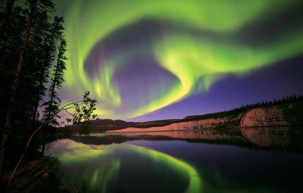 Aurora borealis northern lights yukon canada nature wallpapers 596x380