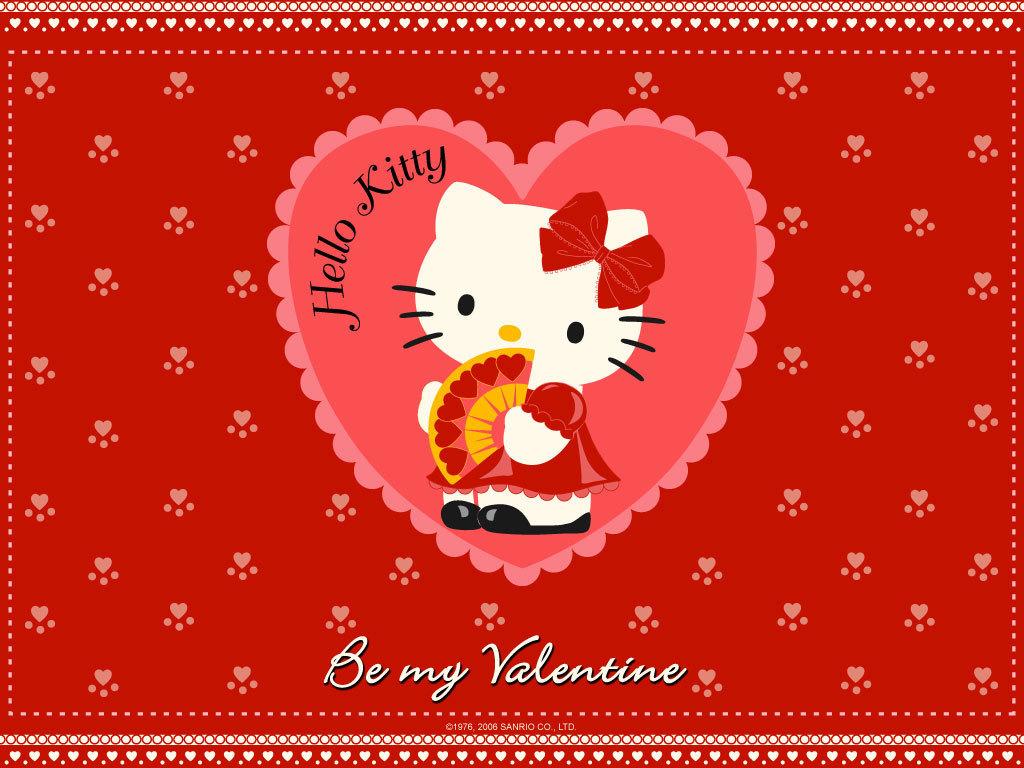 Valentines Day Hello Kitty Background 1024x768