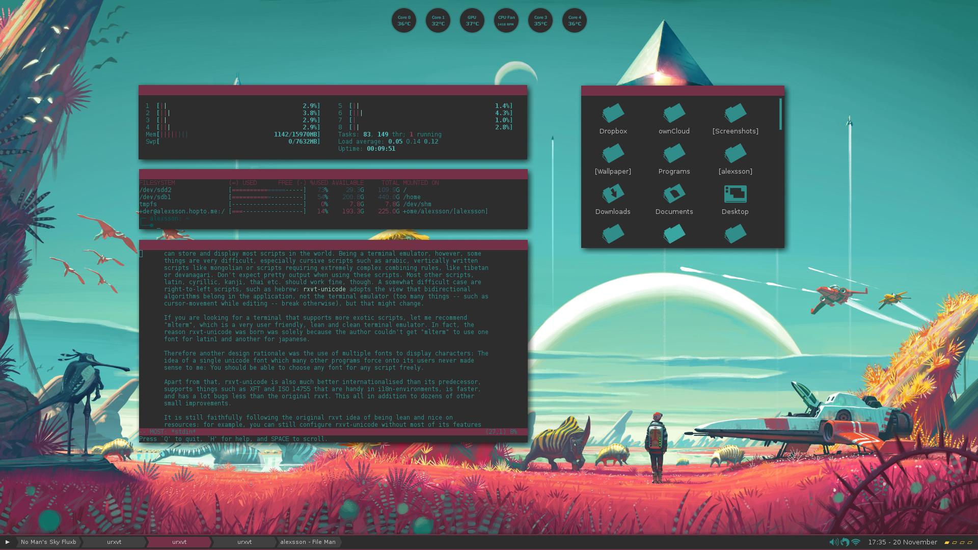 Fluxbox screenshot based on No Mans Sky OS ThemesCustomization 1920x1080