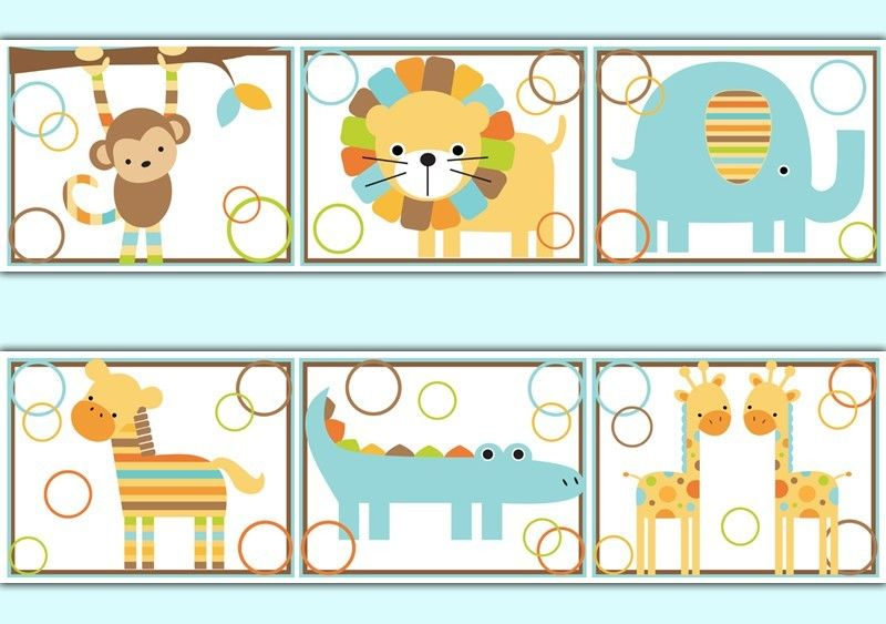 Jungle Wallpaper Border Decals Baby Boy Nursery Kids Room Zoo Animal ...