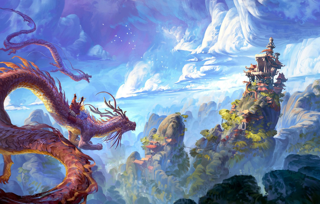 Wallpaper China house fantasy sky landscape nature clouds 1332x850