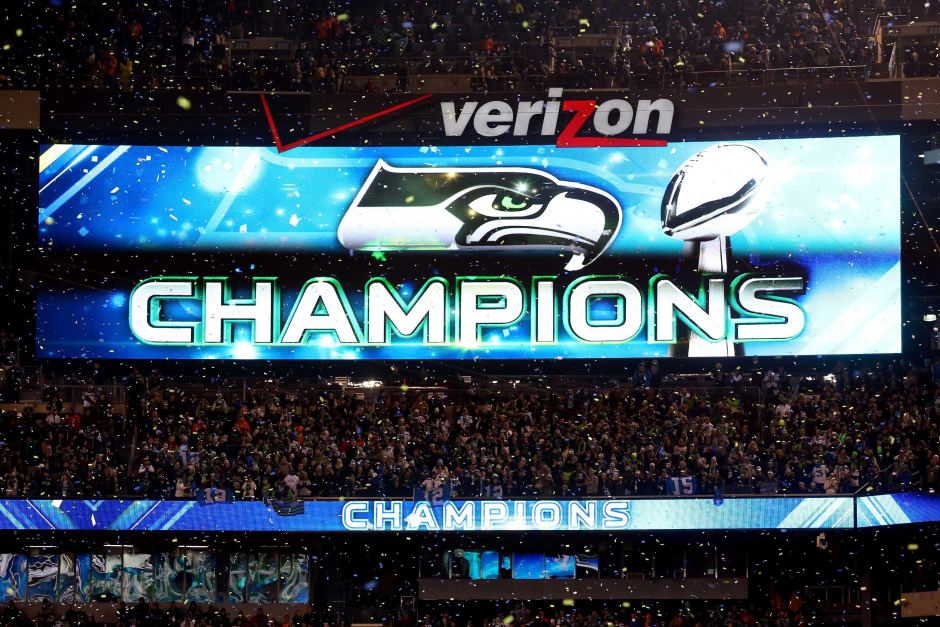 Sign declaring the Seattle Seahawks champions after Super Bowl XLVIII 940x627