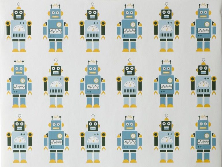 MOTIF KIDS WALLPAPER ROBOTS ROBOT COLLECTION BY FERM LIVING 770x578