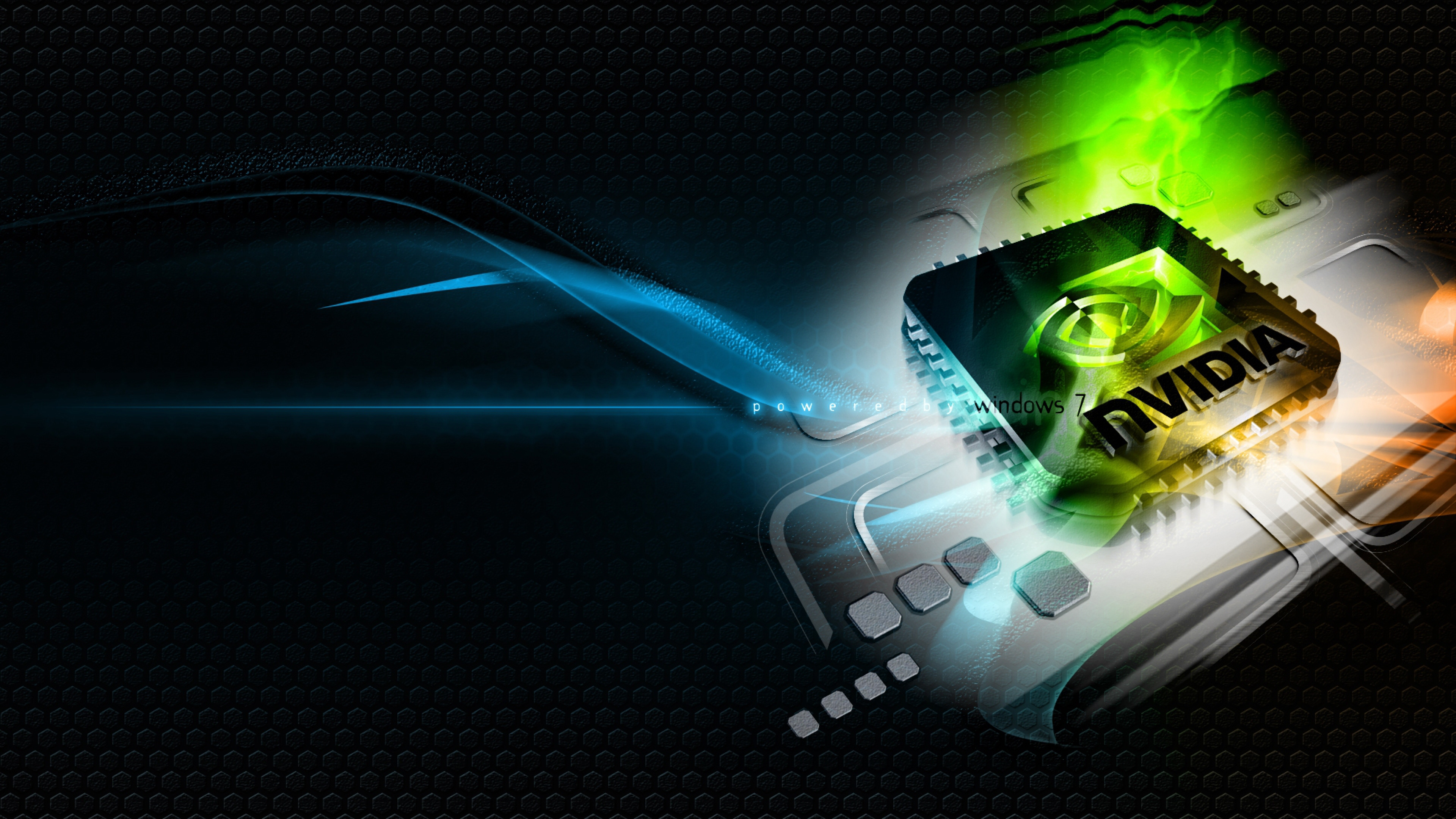 3840x2160 Wallpaper nvidia green blue white chip 3840x2160