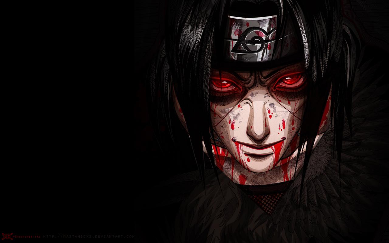 Uchiha Itachi Blood Sharingan eyes cool guy male anime hd wallpaper 1280x800
