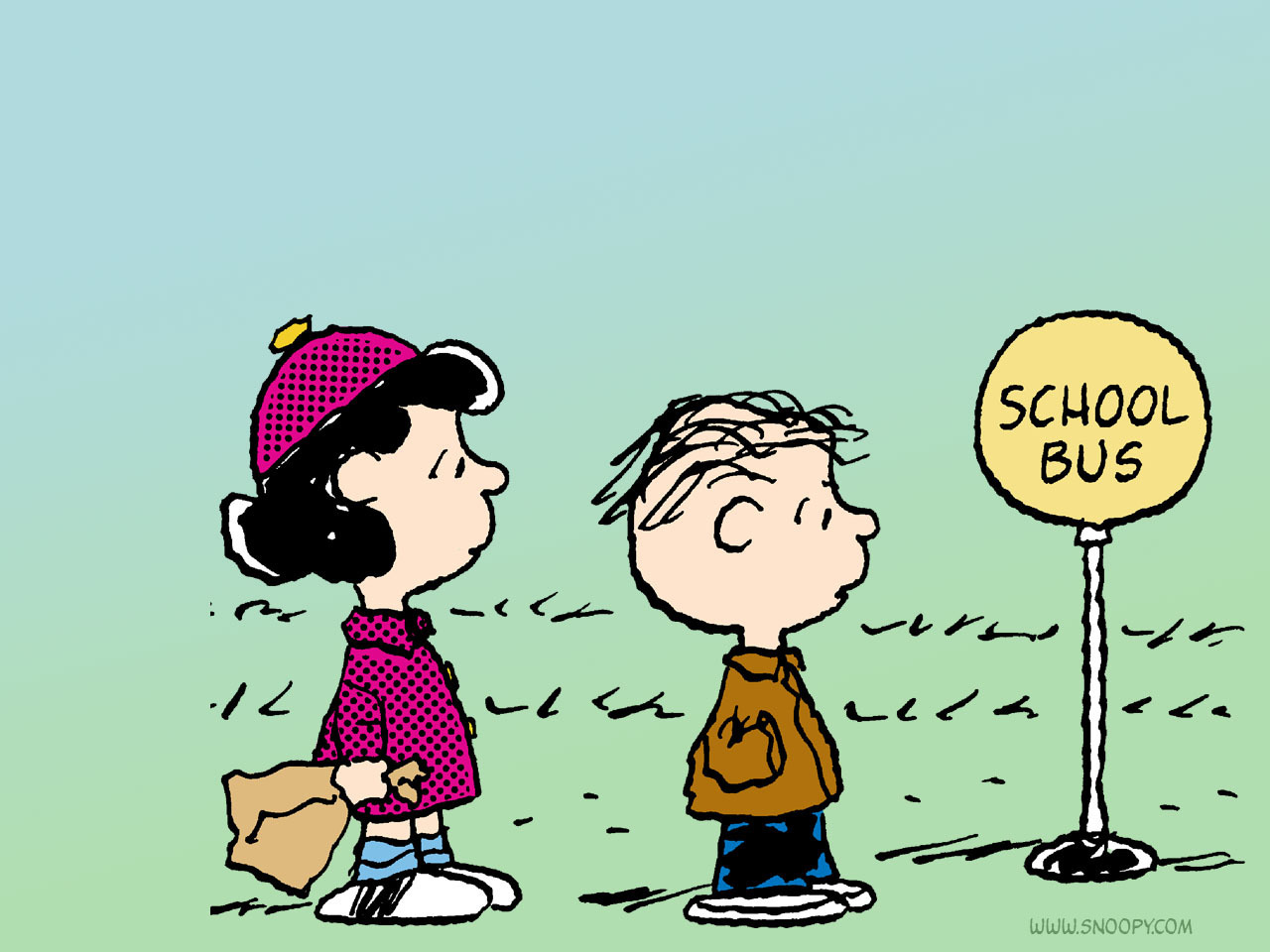 school bus linus and lucy   Peanuts Wallpaper 6273388 1280x960