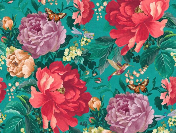 Dianthus Kingfisher Green Designer Wallpaper 750x566