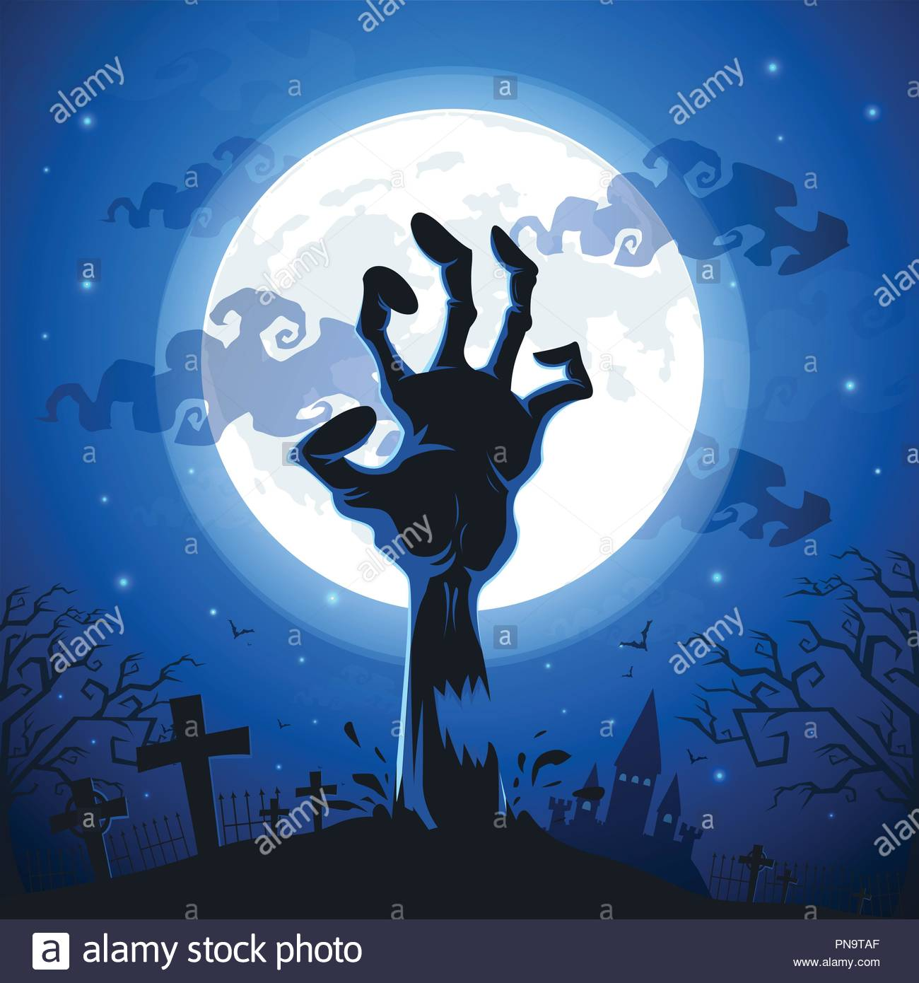 Halloween background with zombie hands on full moon Stock Vector 1300x1390